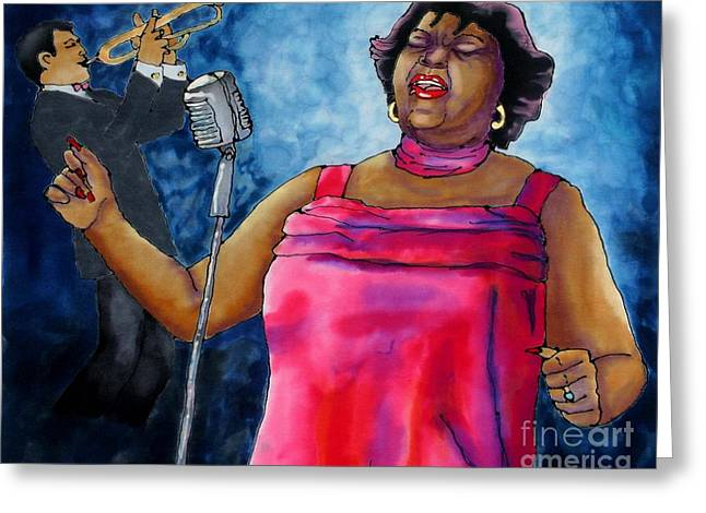 African-american Tapestries - Textiles Greeting Cards - Jazzy Lady Greeting Card by Linda Marcille