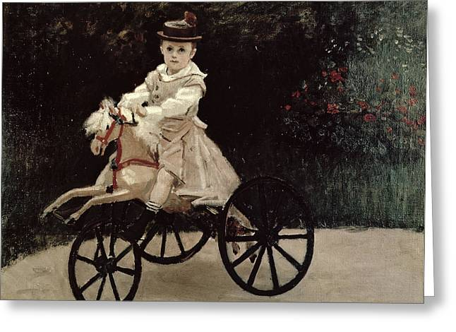 Enfants Greeting Cards - Jean Monet on his Hobby Horse Greeting Card by Claude Monet