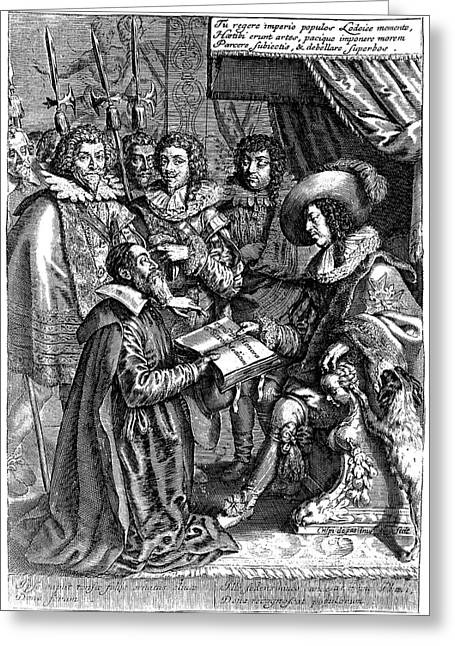 Jean Riolan The Younger And Louis Xiii Greeting Card by Wellcome Images
