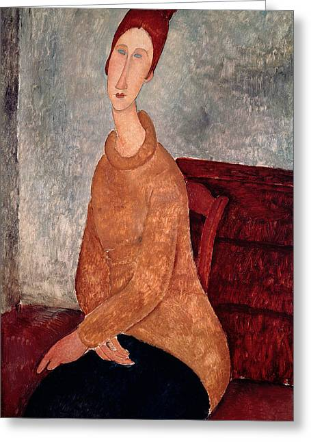 Hebuterne Greeting Cards - Jeanne Hebuterne in a Yellow Jumper Greeting Card by Amedeo Modigliani