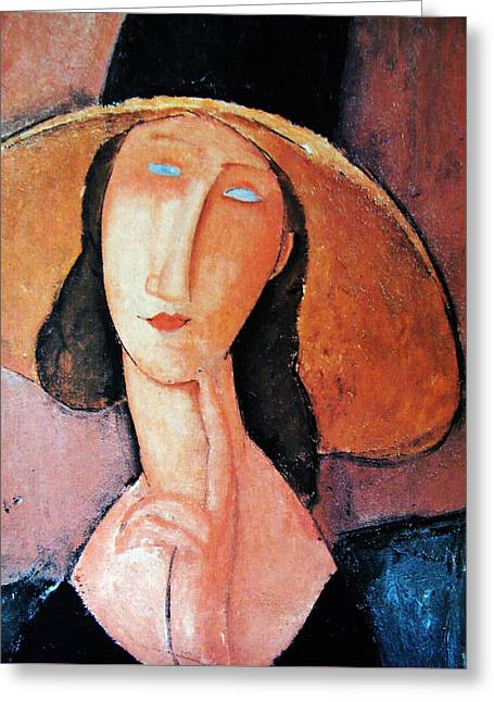 Hebuterne Greeting Cards - Jeanne Hebuterne In Large Hat Greeting Card by Amedeo Modigliani