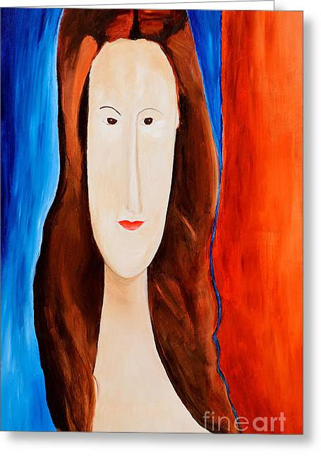 Hebuterne Greeting Cards - Jeanne Hebuterne- Tribute to Modigliani  Greeting Card by Art by Danielle