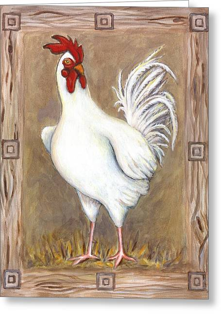 Jed The Rooster Greeting Card by Linda Mears