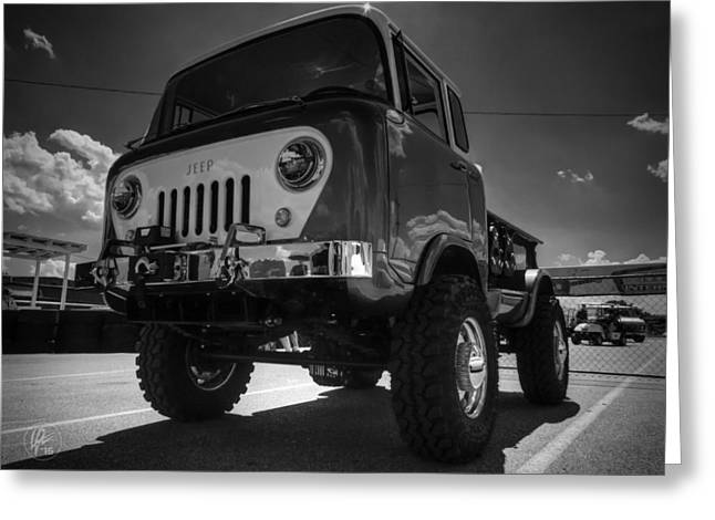 Willys Greeting Cards - Jeep Forward Control 001 BW Greeting Card by Lance Vaughn