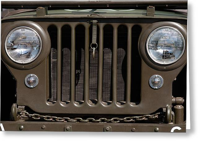 Headlight Greeting Cards - Jeep Grill Greeting Card by Dan Holm