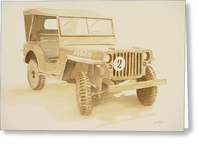 Jeep In Sepia Greeting Card by David Godbolt