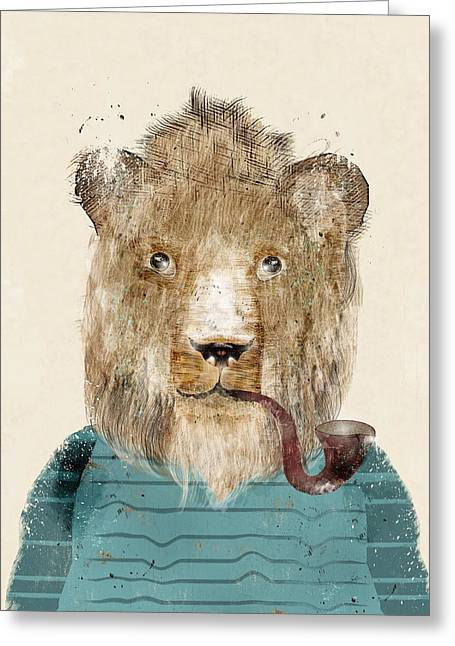 Lion Illustrations Greeting Cards - Jeep The Lion Greeting Card by Bri Buckley
