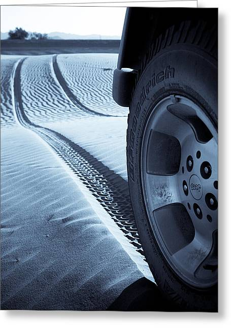 Sand Pattern Greeting Cards - Jeep Tire Track Greeting Card by Scott Sawyer