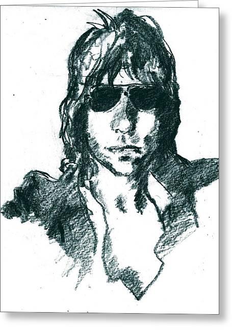 Jeff Drawings Greeting Cards - Jeff Beck 1 Greeting Card by David Ritsema