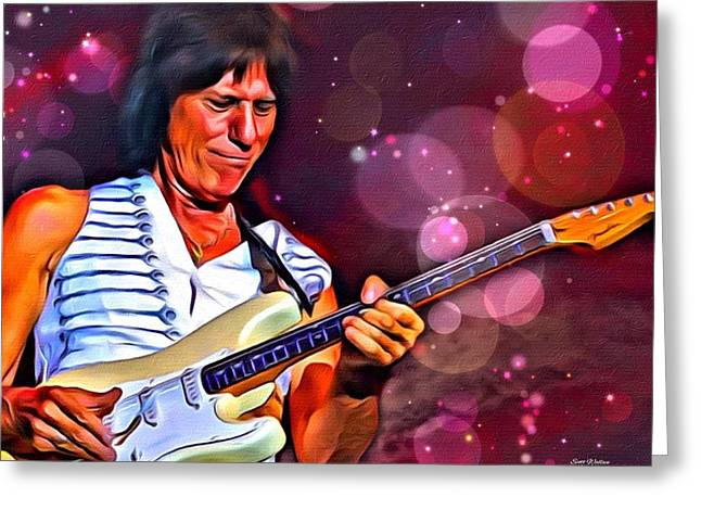 Award Digital Greeting Cards - Jeff Beck Portrait Greeting Card by Scott Wallace