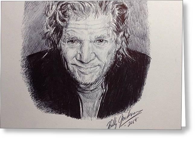 Jeff Drawings Drawings Greeting Cards - Jeff Bridges Greeting Card by Billy Jackson