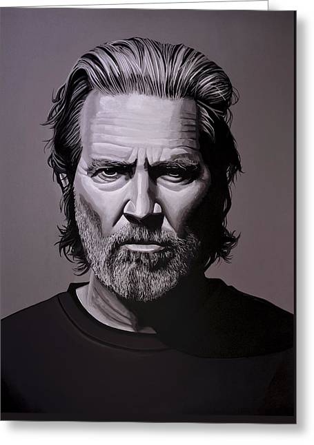 Jeff Bridges Painting Greeting Card by Paul Meijering