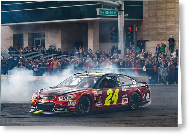 Jeff Gordon - The Final Burnout  Greeting Card by James Marvin Phelps