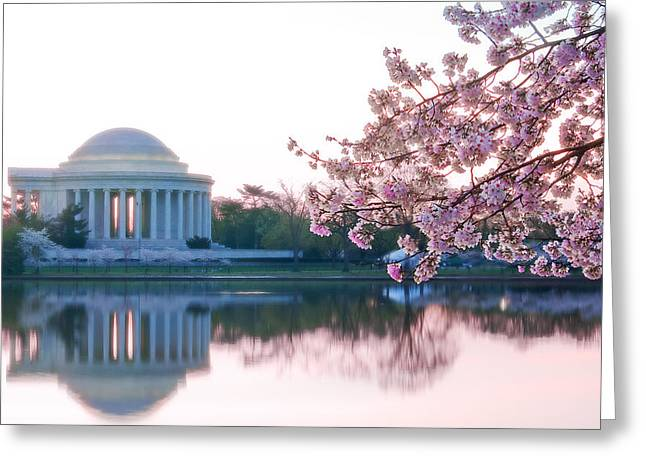 Jefferson Memorial Greeting Cards - Jefferson at sunrise Greeting Card by Don Lovett