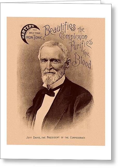 Jefferson Greeting Cards - Jefferson Davis Vintage Advertisement Greeting Card by War Is Hell Store