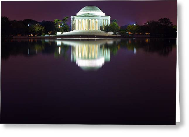 Jefferson Memorial Across The Pond At Night 4 Greeting Card by Val Black Russian Tourchin