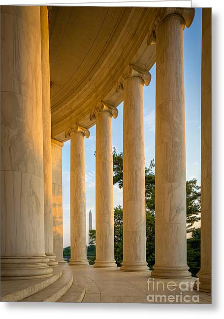 National Mall Greeting Cards - Jefferson Memorial Columns Greeting Card by Inge Johnsson