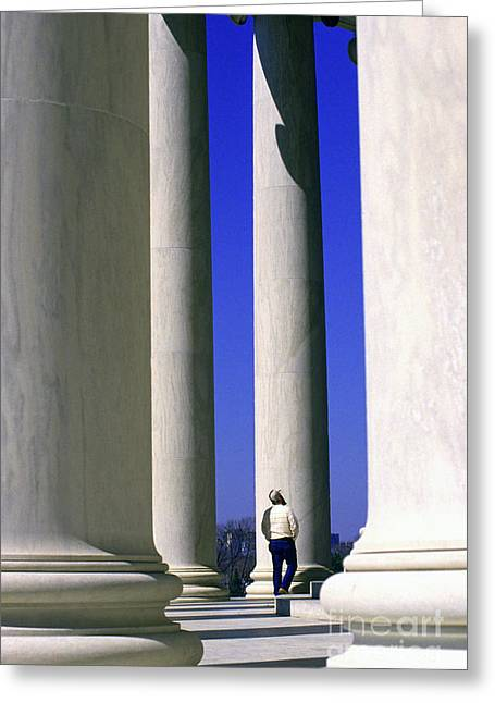 Seat Of Power Greeting Cards - Jefferson Memorial Columns Greeting Card by Thomas R Fletcher