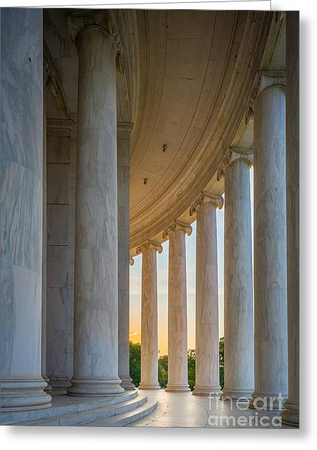 National Mall Greeting Cards - Jefferson Memorial Dawn Greeting Card by Inge Johnsson