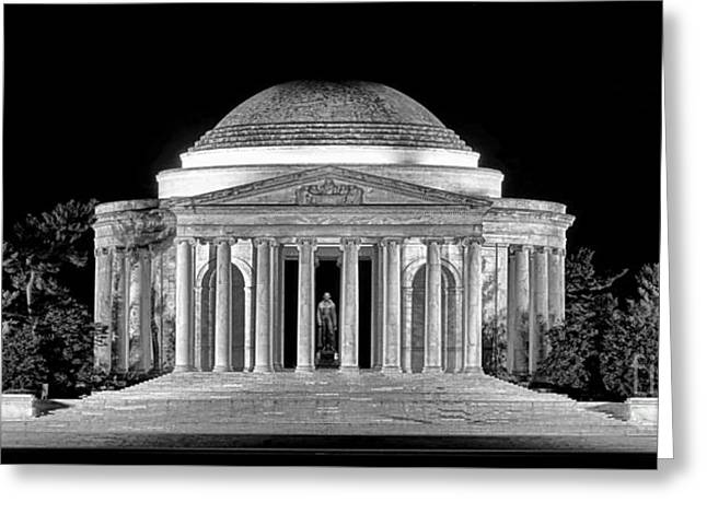 Jefferson Memorial Lonely Night Greeting Card by Olivier Le Queinec