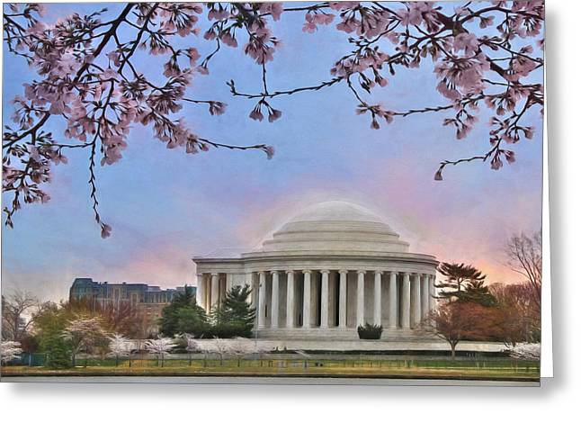 National Mixed Media Greeting Cards - Jefferson Memorial Greeting Card by Lori Deiter