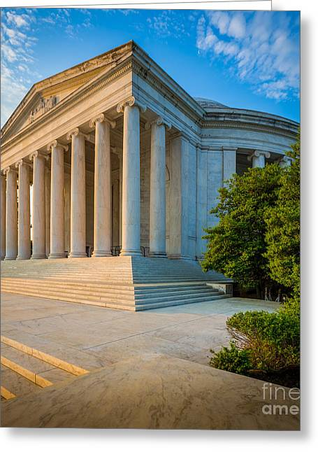 National Mall Greeting Cards - Jefferson Memorial Panorama Greeting Card by Inge Johnsson