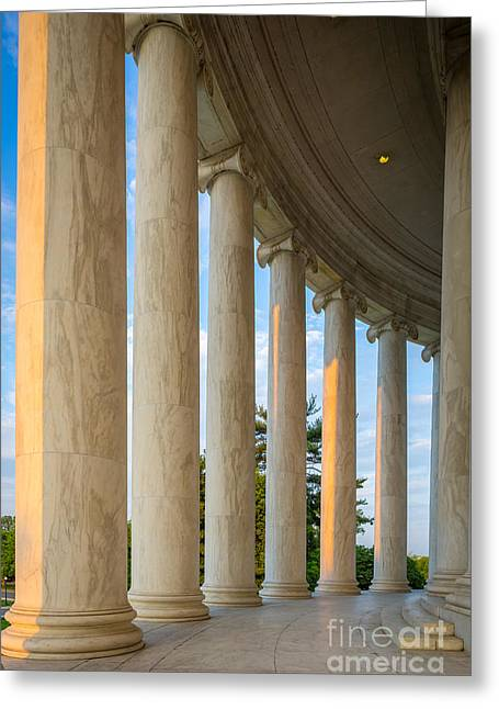National Mall Greeting Cards - Jefferson Memorial Pillars Greeting Card by Inge Johnsson