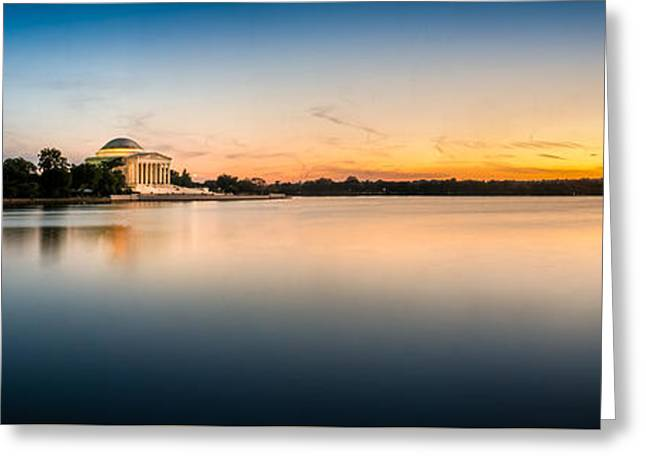 Jefferson Pyrography Greeting Cards - Jefferson Memorial Sunset Greeting Card by Paul Gretes
