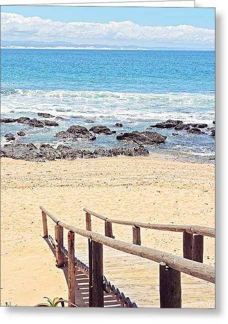 Recently Sold -  - Wooden Stairs Greeting Cards - Jeffreys Bay Greeting Card by Benjamin Matthijs
