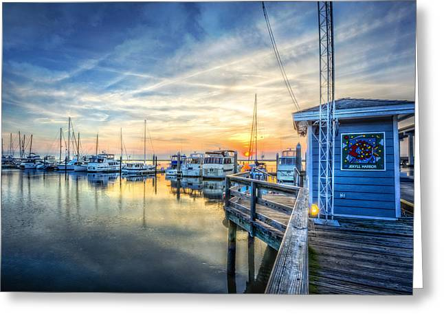 Wooden Ship Greeting Cards - Jekyll Harbor Greeting Card by Debra and Dave Vanderlaan