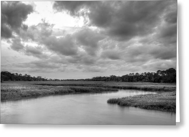 Recently Sold -  - Fishing Creek Greeting Cards - Jekyll Islands Clam Creek in Black and White Greeting Card by Greg Mimbs
