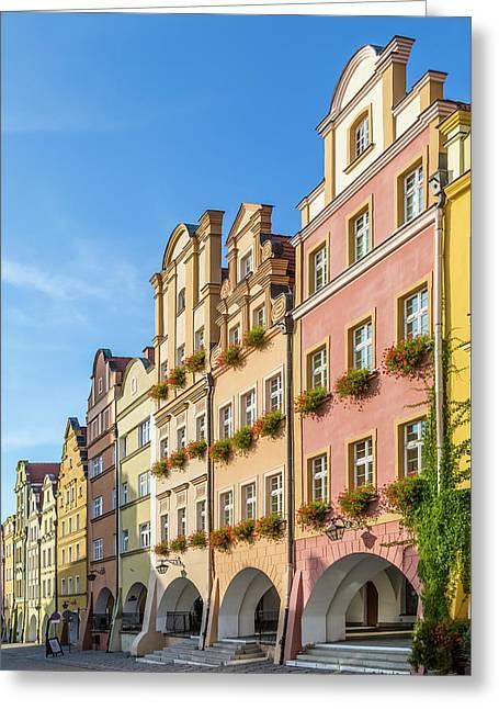 Jelenia Gora Baroque Tenement Houses With Arcades Greeting Card by Melanie Viola