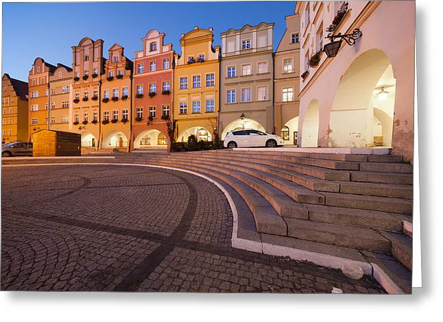 Jelenia Gora Old Town Houses At Night Greeting Card by Artur Bogacki