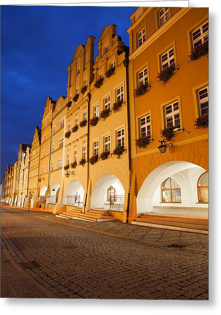 Jelenia Gora Old Town Houses By Night In Poland Greeting Card by Artur Bogacki