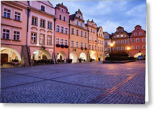 Jelenia Gora Old Town Square At Dusk In Poland Greeting Card by Artur Bogacki