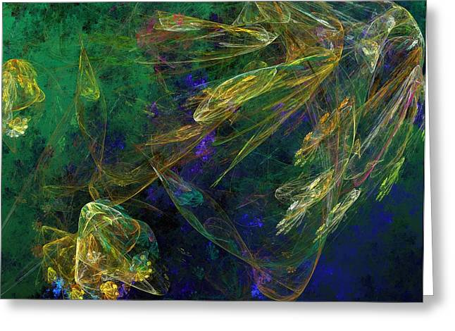 Jelly Fish Digital Art Greeting Cards - Jelly Fish  Diving the Reef Series 1 Greeting Card by David Lane