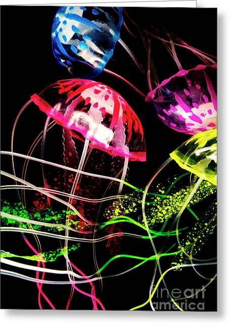 Jelly Fish Trails Greeting Card by Jorgo Photography - Wall Art Gallery