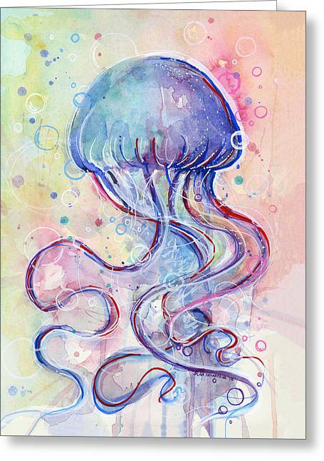 Jelly Fish Watercolor Greeting Card by Olga Shvartsur
