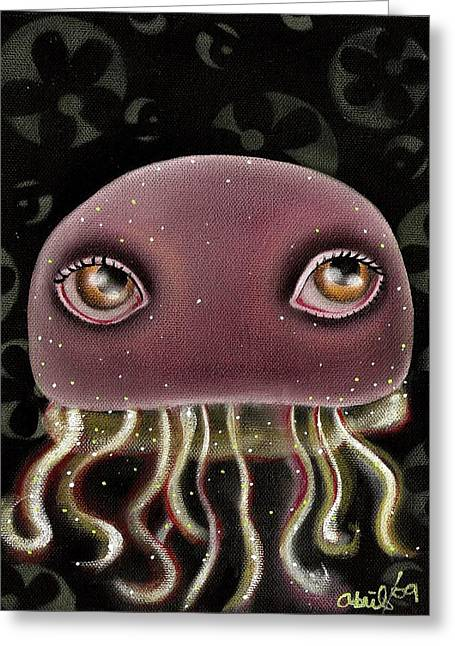 Outsider Art Paintings Greeting Cards - Jellyfish Greeting Card by  Abril Andrade Griffith