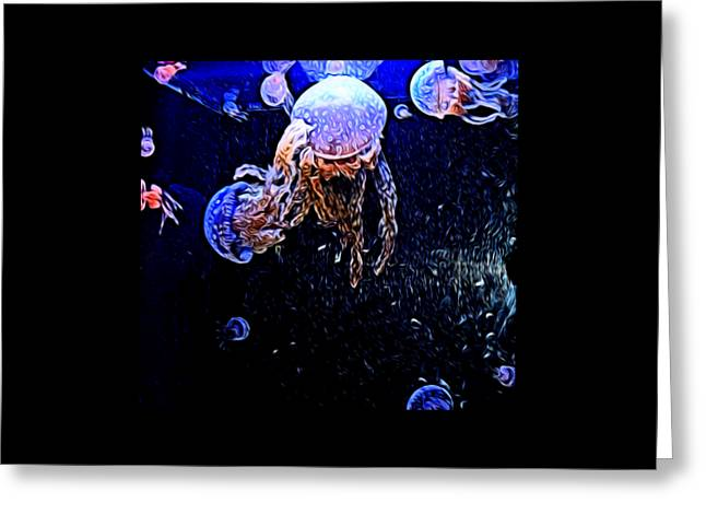 Jelly Fish Greeting Cards - Jellyfish Action Greeting Card by Kristalin Davis