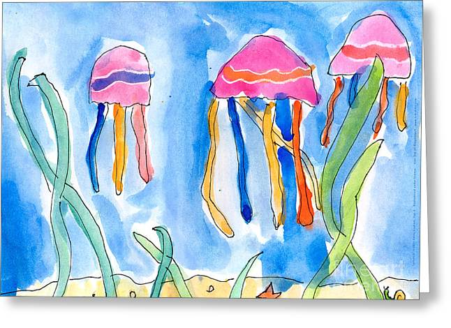 Recently Sold -  - Sea Animals Greeting Cards - Jellyfish Greeting Card by Emily Graham Age Six