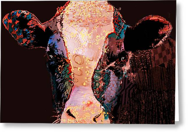 Cow Framed Prints Greeting Cards - Jemima the cow Greeting Card by Marlene Watson