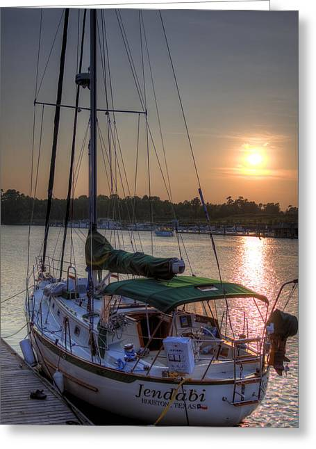 Docked Sailboat Greeting Cards - Jendabi Greeting Card by Dustin K Ryan