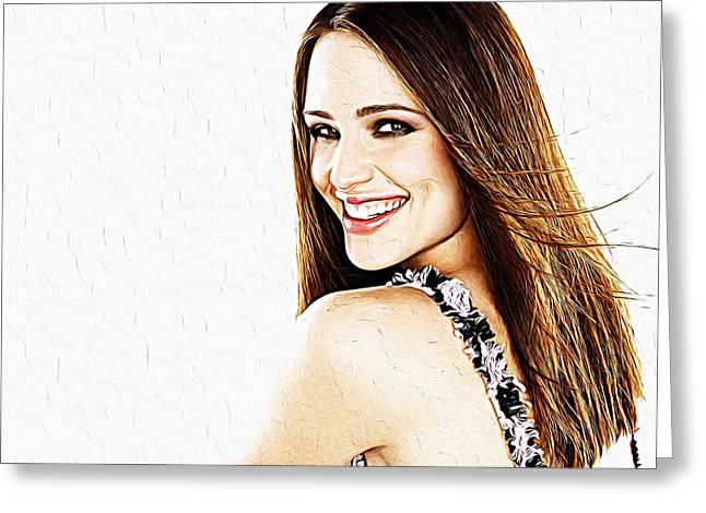 Jessica Alba Greeting Cards - Jennifer Garner Greeting Card by Queso Espinosa