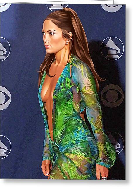 Jennifer Lopez With Green Grammy Dress Painting In Hd Greeting Card by Jovemini ART