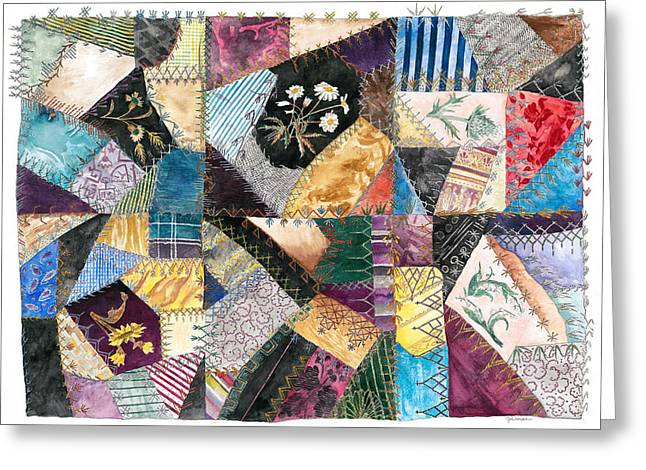 Crazy Quilt Greeting Cards - Jenny Camerons Masterpiece Greeting Card by Jane Durrell