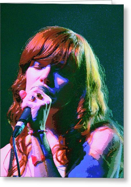 Jenny Mixed Media Greeting Cards - Jenny Lewis 2 Greeting Card by Dominic Piperata