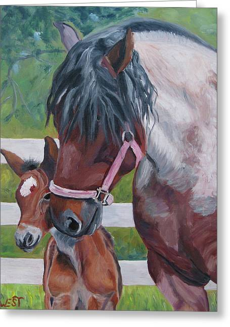Equine Artist Greeting Cards - Jennys New Star Greeting Card by Anne West