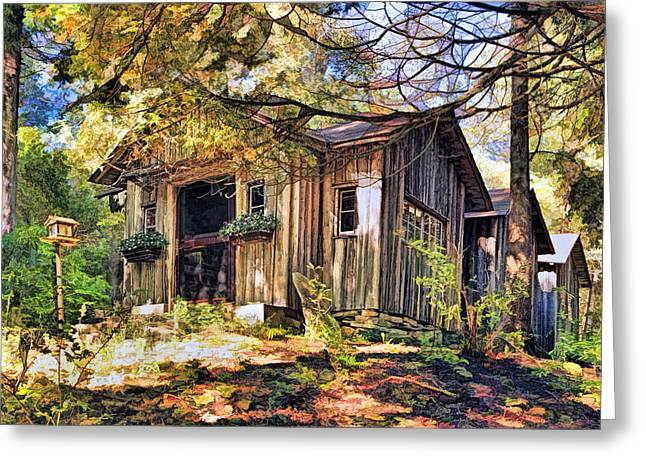 Log Cabins Greeting Cards - Jens Jacobsen Museum on Washington Island Door County Greeting Card by Christopher Arndt