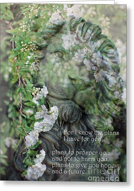 In His Light Greeting Cards - Jeremiah 29 - 11 Scriptural Art Greeting Card by Ella Kaye Dickey